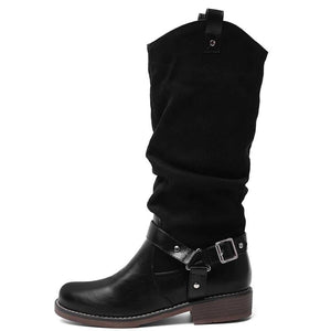 Retro ladies belt buckle low-heel high boots