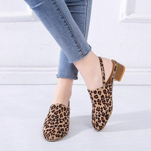 Women's Casual Baotou Thick Heel Elasticated Leopard Sandals