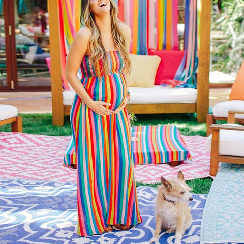 Maternity Sweet Rainbow Tube Top Dress