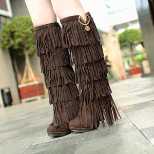 Fashion multi-layer tassel pure color high-heel boots