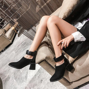 Fashion snakeskin mixed color pointed toes ankle boots