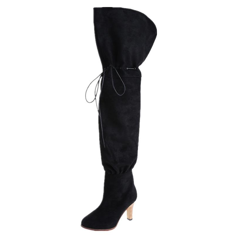Fashion lacing pure color pointed toed thigh-high boots
