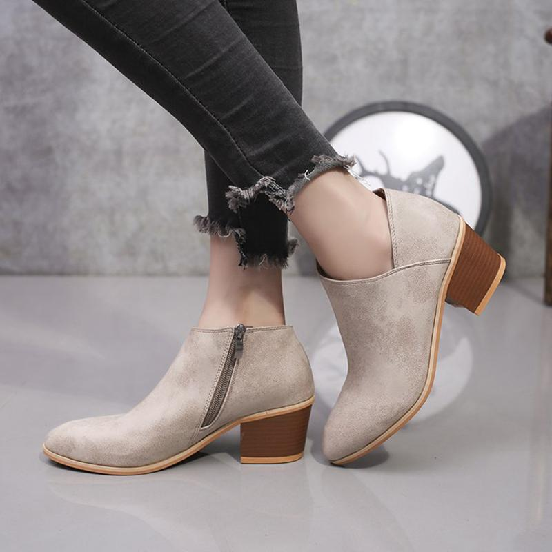 Simple Women Pointed Solid Color Ankle Boots