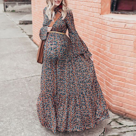 Maternity Round Neck Printed Color Dress