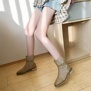Women's fashion solid color suede stitching Martin boots