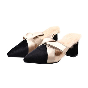 Elegant bowknot pointed toes fur slippers muller shoes