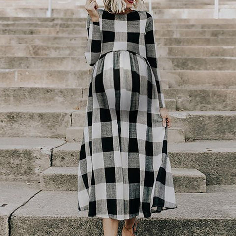 Maternity Fashion Round Neck Plaid Long Sleeve Dress