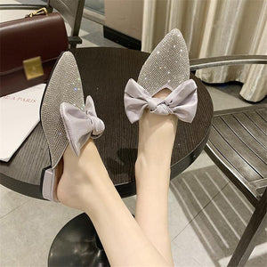 Cute bowknot rhinestone pointed toes muller shoes slippers