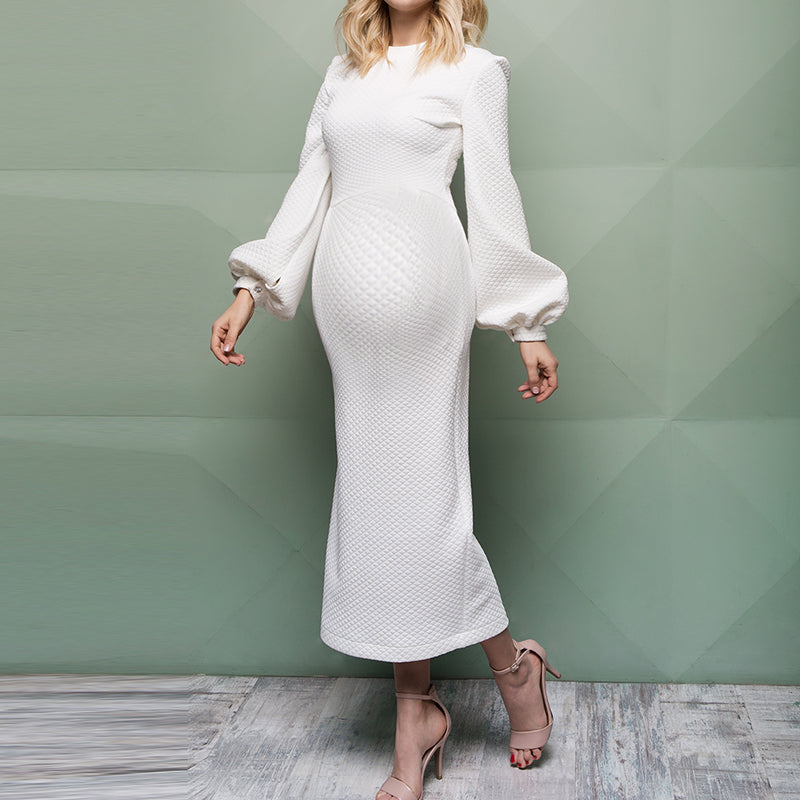 Maternity Elegant Lantern Sleeve Solid Colour Bodycon Dress