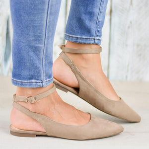 Casual buckle pure color pointed toes flat sandals