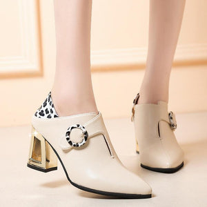 Women's fashion solid color belt buckle high heel ankle boots