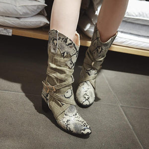 Women's fashion color matching snakeskin Martin boots