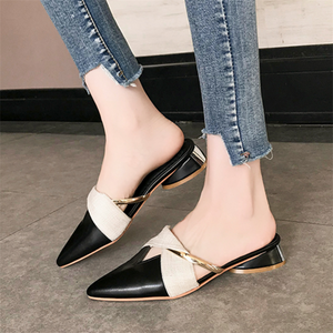 Women's retro color matching pointed slippers