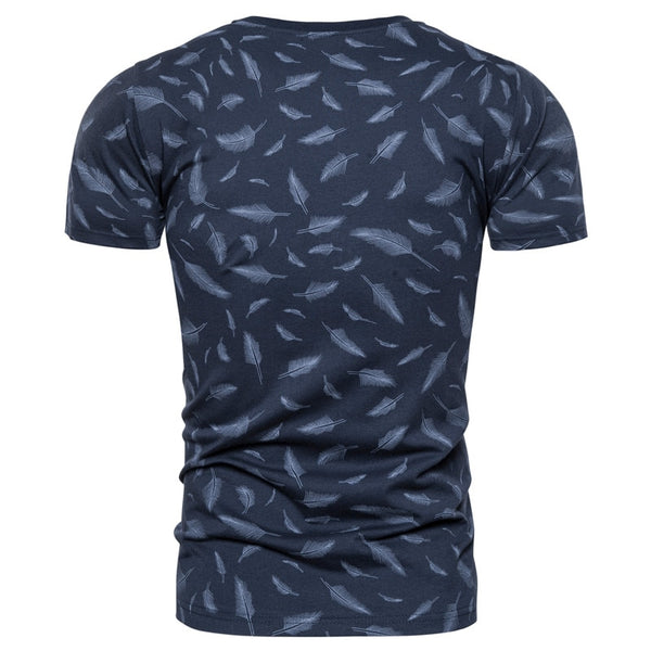 2020 New Summer 100% Cotton Feather Print T-shirt Men Sporting Gym Clothing O-neck Elasticity Men T Shirt Top-quality Tshirt Men