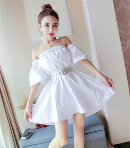 Indie folk style 2020 summer Korean temperament off-shoulder short flare sleeve waist A-line with sashes big swing female dress
