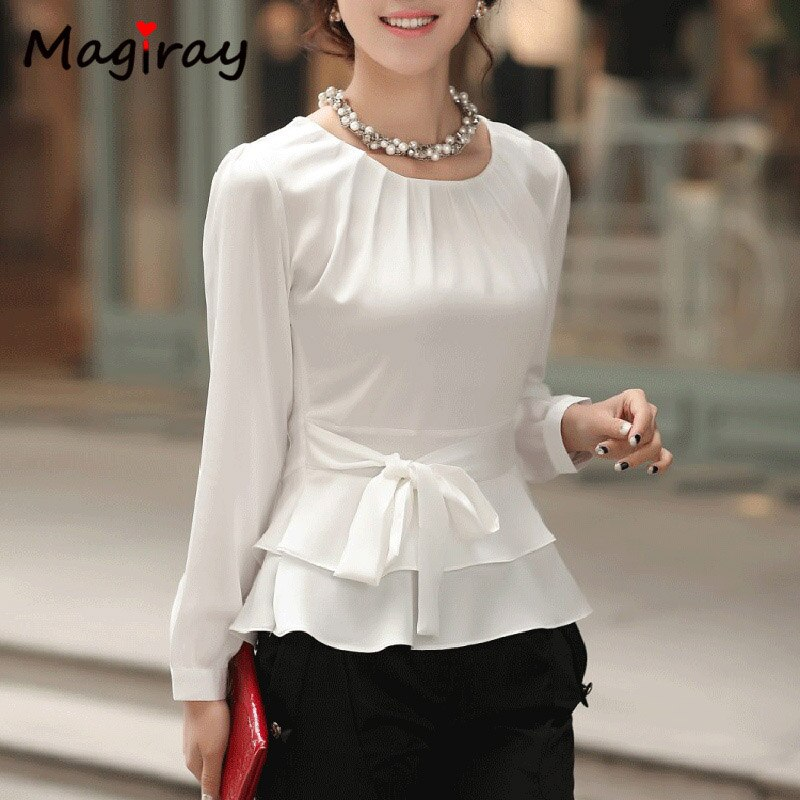 Pleated O Neck White Chiffon womens Tops and Blouses 2019 Long Sleeve Peplum Belt Korean Elegant Shirt Female Floral Office C15