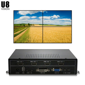 U8Vision 4CH TV Wall Controller 2x2 for 4 TV Splicing support HDMI/DVI/VGA/USB input
