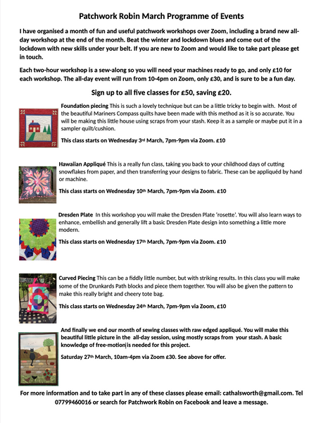 Patchwork Robin March Courses