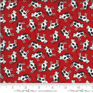 Cows - Animal Crackers Fabric Range - By Sweetwater for Moda Fabrics - Apple Red