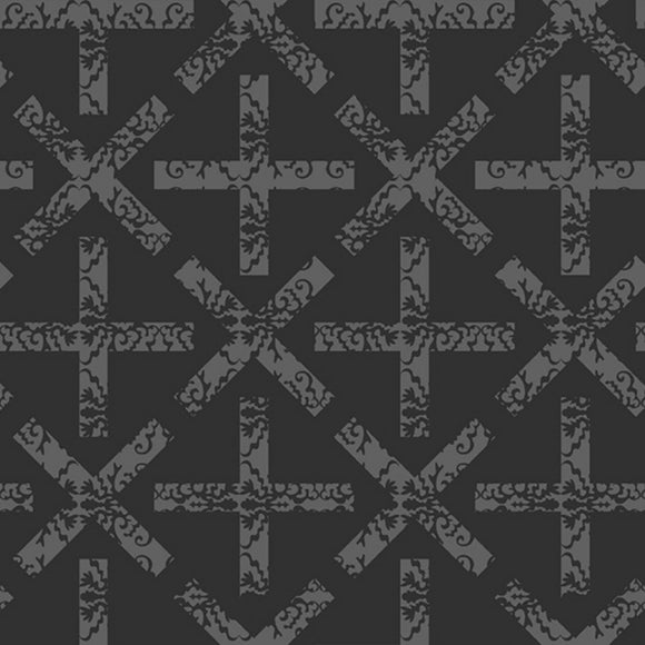 X and + - Art Theory Fabric Range - Andover - Charcoal Grey