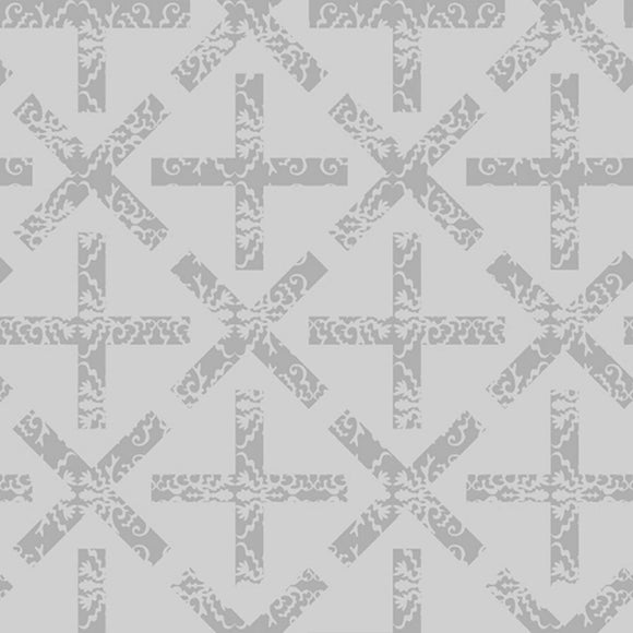 X and + - Art Theory Fabric Range - Andover - Light Grey