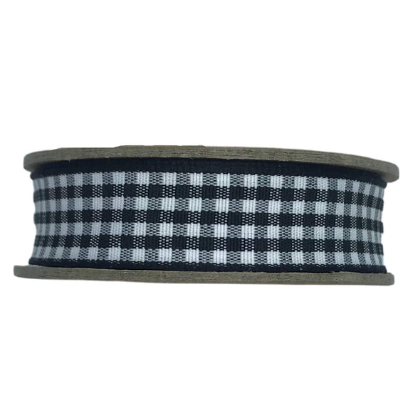 Gingham Vintage Ribbon - Bowtique - Black