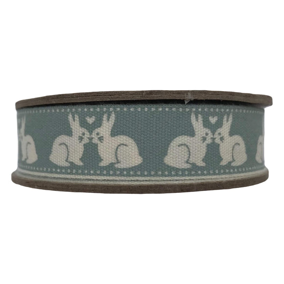 Kissing Bunnies Vintage Ribbon - Bowtique - Grey