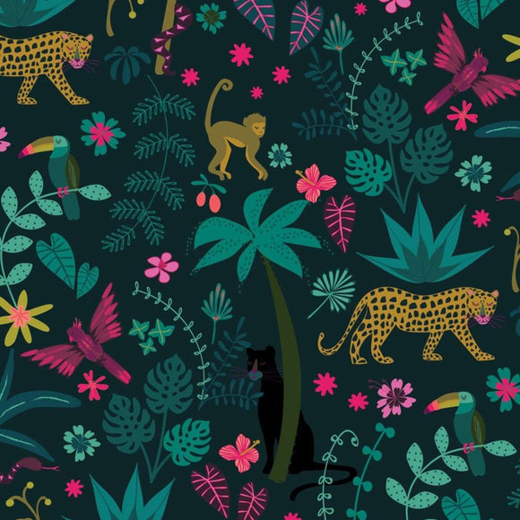 Jungle Leopards - Night Jungle Fabric Range - Dashwood Studios - Dark Teal