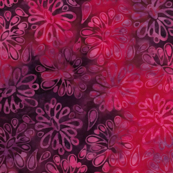 Flowers - Pattern No. 821904345 - Island Batiks Fabric - Red