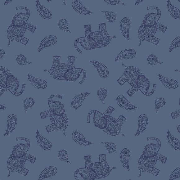 Elephant - Soraya Fabric Range - Lewis and Irene - Blue
