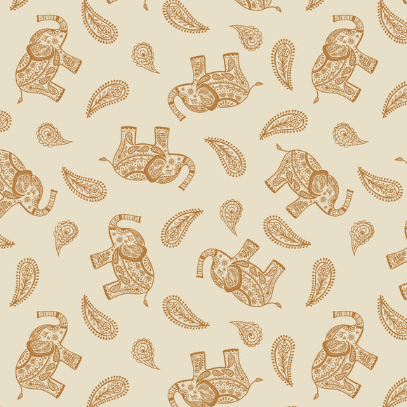 Elephant - Soraya Fabric Range - Lewis and Irene - Cream