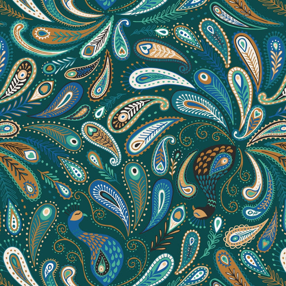 Paisley Peacock - Soraya Fabric Range - Lewis and Irene - Dark Emerald Green
