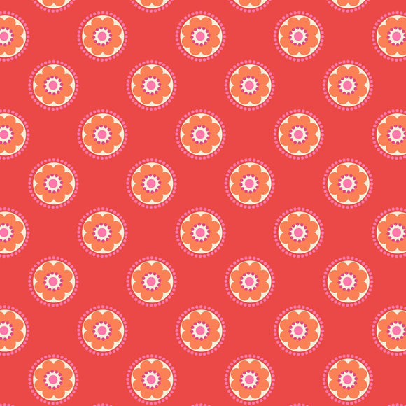 Funky Daisy - Flower Child Fabric Range - Lewis and Irene - Red