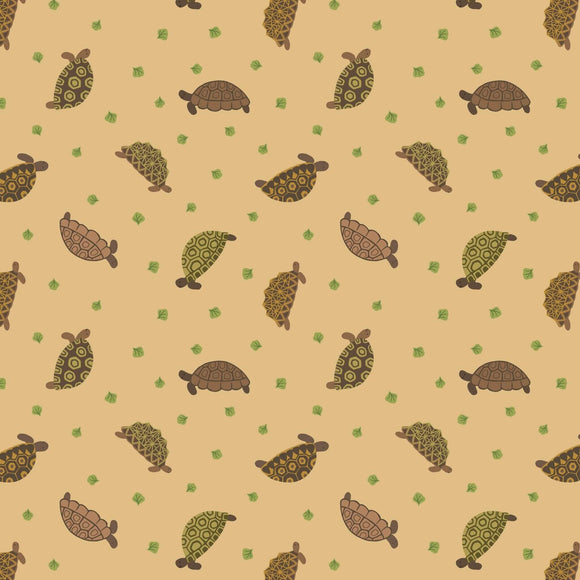 Tortoises - Small Things Pets Fabric Range - Lewis and Irene - Sand