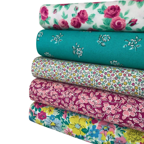 Liberty Flower Show  - Pink and Green - 5 Fat Quarter Bundle