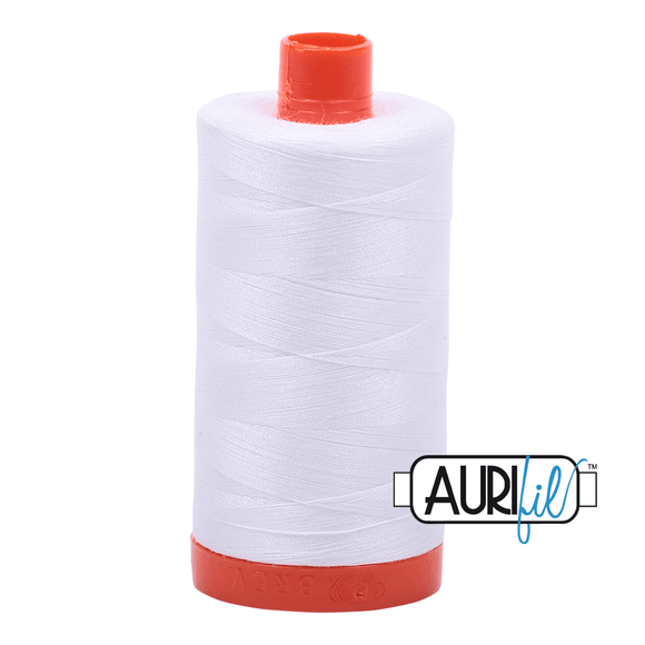 Aurifil Cotton Thread - 50's Weight - 1300 metres - White (2024)