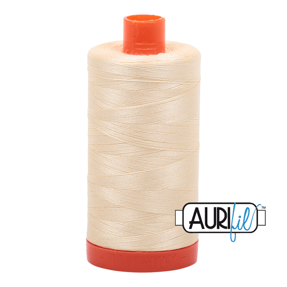 Aurifil Cotton Thread - 50's Weight - 1300 metres - Light Lemon (2110)