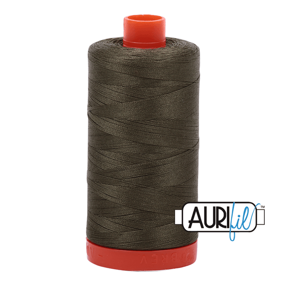 Aurifil Cotton Thread - 50's Weight - 1300 metres - Army Green (2905)