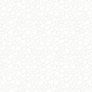 Heart - Essentials range of fabric by Makower - White on White