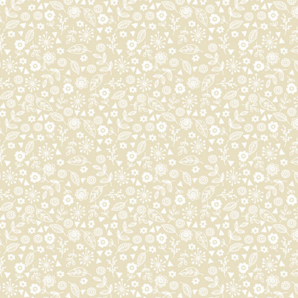 Doodle Ditzy - Essentials range of fabric by Makower - Pearl