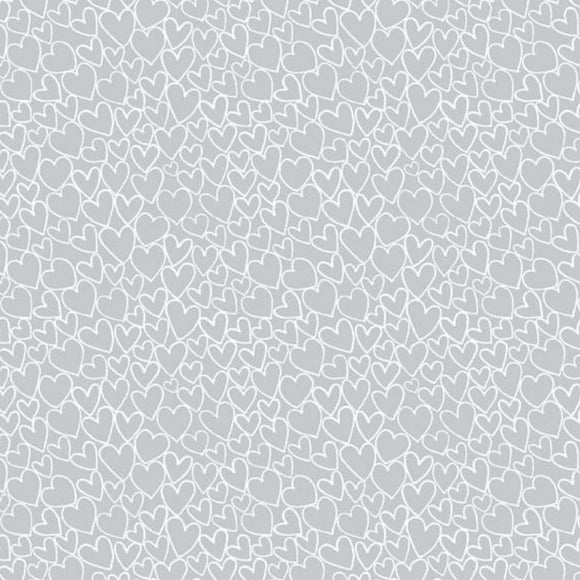 Heart - Essentials range of fabric by Makower - Pewter