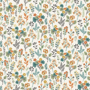Plants - Clara's Garden Fabric Range - Makower - Cream
