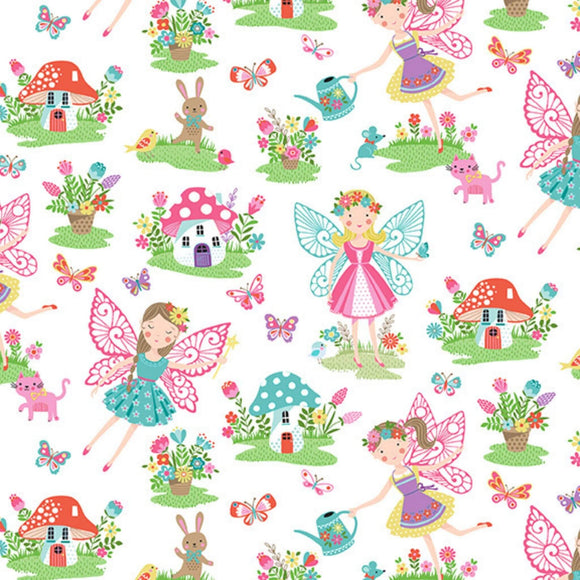 Fairies - Daydream Fabric Range - Makower - White