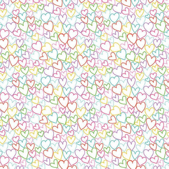 Hearts - Daydream Fabric Range - Makower - White