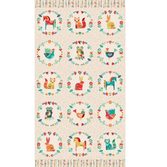 Panel - Folk Friends Fabric Range - Makower - Cream