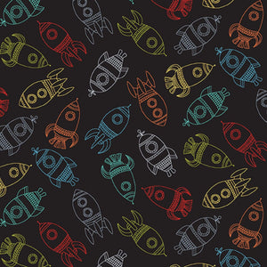 Rockets - Outer Space Fabric Range - Makower - Black