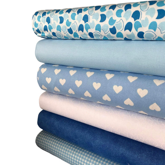 Mixed Brand  - Blues - 6 Fat Quarter Bundle
