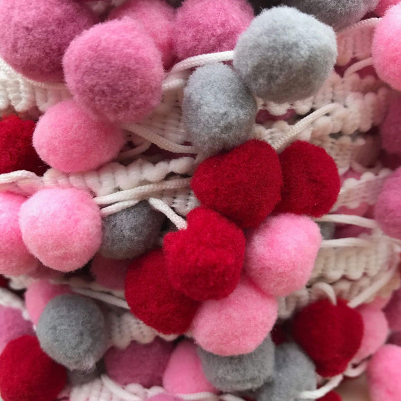 Pom Pom Trim - 40mm - Red, Pink and Grey