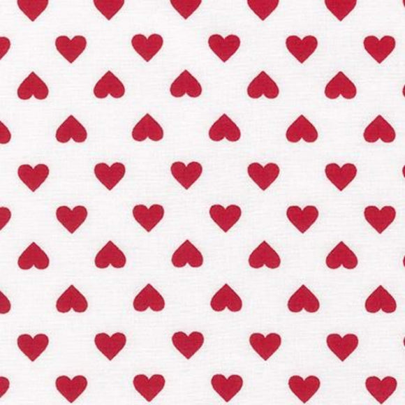 Hearts - Classics Fabric Range - Sevenberry - Red on White