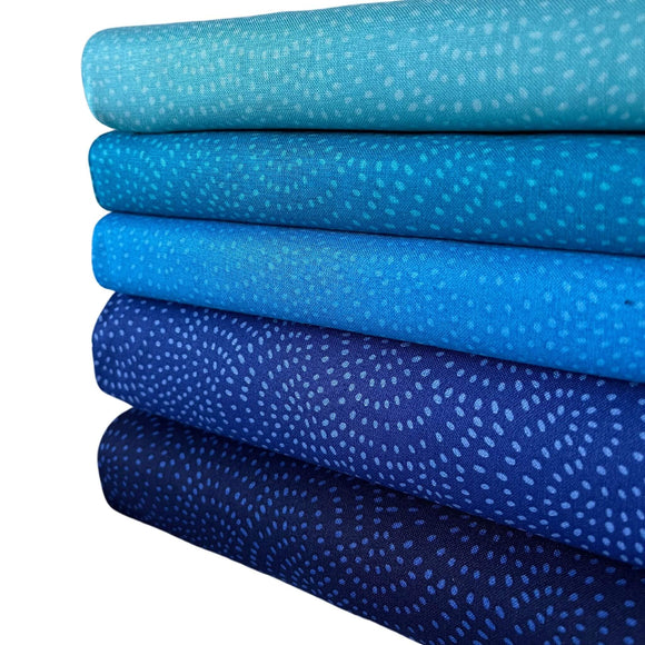 Twist Fabric Range  - 5 Fat Quarter Bundle - Blues
